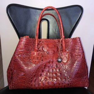 FURLA Distressed Croc Embedded Tote Bag
